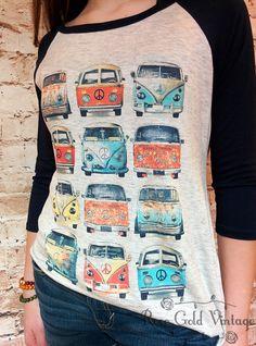 VW Buses Baseball Tee (Ladies) – Rose Gold Vintage