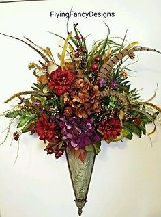 Old-World-Tuscan-Silk-Feather-Floral-Flower-Arrangement-Wall-Pocket-Sconce