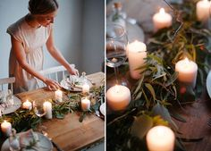 A simple winter table | DIY   Ideas for the xmas table  http://www.homebarnshop.co.uk/product-category/reclaimed-dining-tables/