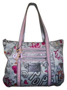 e20c23f2456 Coach Poppy Pink & Silver Fabric Leather Trim Tote 89% off retail