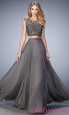 Image of long Gigi two-piece gunmetal-gray prom dress Style: LF-22929 Front Image