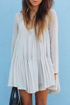 White U Neck Long Sleeve Loose Dress