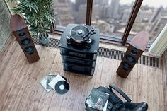 audiophile living room skyline panorama