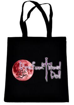 Dysfunctional Doll Original Logo on Black Tote Book Bag Gothic Clothing Handbag