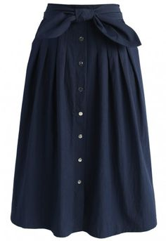 Bowknot Passion Midi Skirt in Navy - Retro, Indie and Unique Fashion