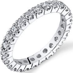 Ice 1 1/4 CT TW Genuine Diamond 14K White Gold Eternity Wedding Band #bride #wedding #jewelry #bridaljewelryideas