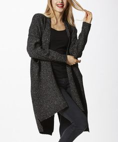 Another great find on #zulily! Black Mélange Wool-Blend Hi-Low Open Cardigan by Simply Couture #zulilyfinds