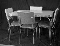 1950's vintage chrome cracked ice formica retro kitchen table set