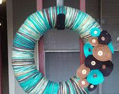 Blue & Browns Yarn Wrapped Wreath with Felt Flowers and Vintage Buttons