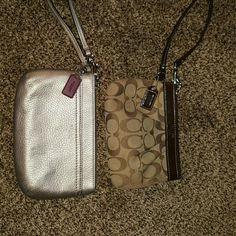 Coach 2 pack of Wristlet's 1 Gold & 1 Brown Logo Coach 2 pack of Wristlet's. 1 Gold & 1 Brown Logo Print. The Gold one is absolutely perfect but the Brown one has a couple of spots on the interior. The exterior is perfect! Coach Bags Clutches & Wristlets