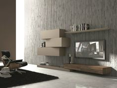 SECTIONAL WALL-MOUNTED TV WALL SYSTEM INCLINART - 263 | PRESOTTO INDUSTRIE MOBILI