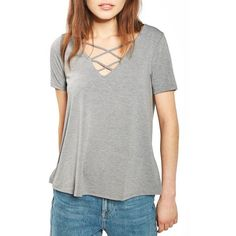 Women's Topshop Cross Neck Tee ($28) ❤ liked on Polyvore featuring tops, t-shirts, grey marl, topshop tops, grey v neck t shirt, v-neck tee, v neck t shirts and jersey v neck t shirt
