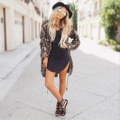"DESI • PERKINS || Hat - H&M | Sunnies - Nordstrom | Dress - ItsNBD | Jacket - Nasty Gal | Shoes - Aldo | Extensions - Bellami Hair 8/60 20"" extensions (use ""Desi"" for discount)"
