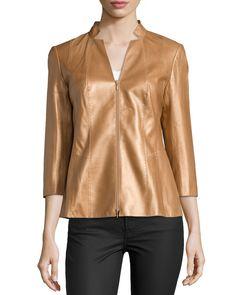 Tara Three-Quarter Sleeve Leather Jacket, Copper