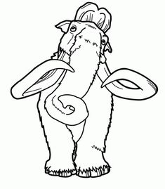 happy feet coloring pages | Manfred mammoth coloring page