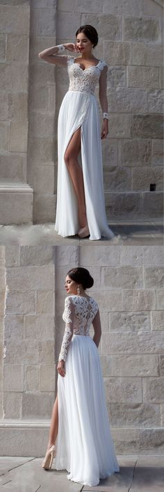 Elegant Long Sleeves Appliques Top White Long Prom Dress/Evening Dress