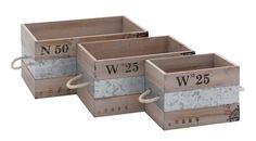 Woodland Imports 3 Piece Metal and Wood Crates & Reviews | Wayfair