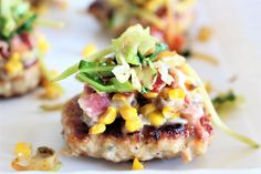 """Turkey Burgers with a Cheesy Bacon & Corn Relish  now I'll give you a few seconds to pick your jaw up off the floor  If you watched my stories on Monday you knew this post was coming. What started out as a request from my husband for """"something with corn and bacon"""" (and no no other details were given ) turned into these! The full recipe is live on my website now... just tap the link in my profile and it'll be the first picture on my homepage  and check out my stories to see how I repurposed…"""