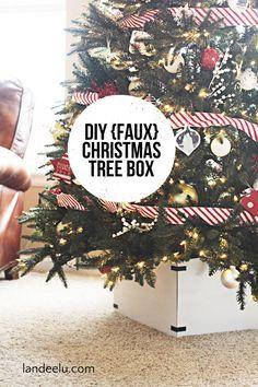 DIY {Faux} Christmas Tree Box Tutorial - EASY and pretty alternative to a tree skirt!
