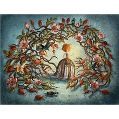 """September Topic is """" Night Creatures """"! *chuckometti's entry for this topic Full Title: """" Rose Hips and Night Creatures """" Description and mediums: """"Afte. Rose Hips and Nig- chuckometti Tree Illustration, Illustrations, Creatures Of The Night, Cute Stories, Everyday Objects, My Little Girl, Surreal Art, All Art, Art For Kids"""