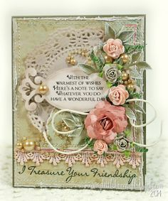 In My Little Korner: LOTV-Hopping into 2014... Patterned papers: Lili of the Valley Beach Bliss paper pad Sentiment Stamps: LOTV Set 10, A5 Verses; Set 25, Handwritten Phrases Dies: Spellbinders Fancy Framed Tags Two, and Rose Creations; Sizzix Flowers Branches & Leaves Lace: TheFunkieJunkie.com Pearls: Recollections Flowers: LayoutsFromTheHeart on Etsy (taupe roses); Wild Orchid Crafts (pink roses)