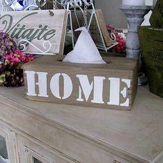 HaM / Zásobník na vreckovky HOME Wooden napkin box with quote - sign