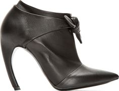 Proenza Schouler - Black Leather Bow Horn Heeled Ankle Boots