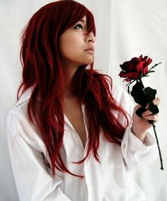 Red dyed asian hair.