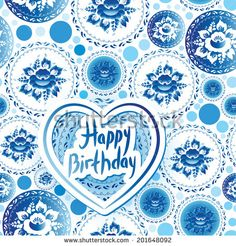 Happy Birthday Card. Russian traditional folk art gzhel. Vintage shabby Chic pattern with blue flowers and leaves. Vector  by EkaterinaP, vi...