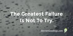 The Greatest Failure Is Not To Try.