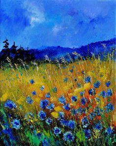 "Saatchi Art Artist: Pol Ledent; Oil 2012 Painting ""corn flowers 45"""