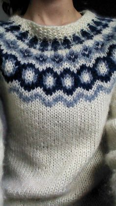 Blue and white Icelandic sweater pattern Knitting Patterns Free, Knit Patterns, Free Knitting, Granny Square Scarf, Nordic Sweater, Icelandic Sweaters, Fair Isle Knitting, Knitting Projects, Knitwear