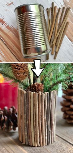 Cheap & Easy Upcycling Christmas Craft: DIY Rustic Vase made out of a tin can! Looking for upcycling There are so many ways to dress up a tin can! This cheap and easy project is great for kids and adults! Simply use sticks and hot glue to cover a tin can. Tin Can Crafts, Crafts To Make, Easy Crafts, Crafts For Kids, Decor Crafts, Crafts Cheap, Diy Crafts Vases, Rustic Crafts, Kids Diy