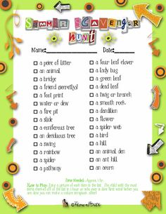 Hook your kids up with a camera, pencil and this printable for a race to the finish- and when they are done, they can make a Nature Scrapbook! Camping Scavenger Hunts, Scavenger Hunt List, Nature Scavenger Hunts, Scavenger Hunt For Kids, Games 4 Kids, Nature Hunt, Kids Up, Activity Days, Summer Kids