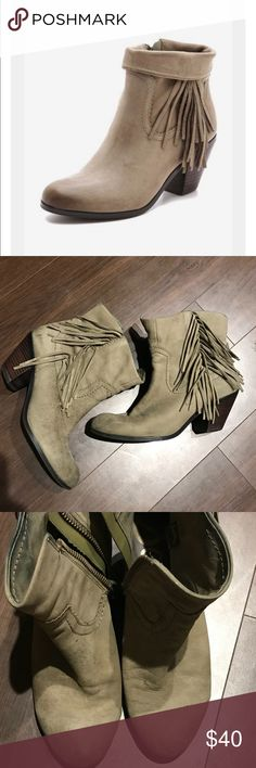 Sam Edelman Louie Bootie Fringe. Optional to fold up or down. Taupe. Small water spots on toes. Sam Edelman Shoes Ankle Boots & Booties