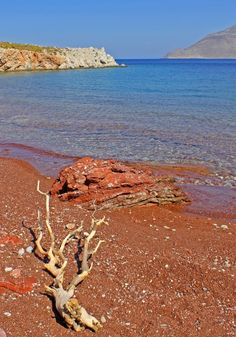 Red beach at Tilos island Dodecanese Red Beach, Greece Islands, More Photos, Wonderful Places, Beaches, Places To Visit, Greek, Honey, Outdoors