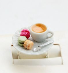 Tea and Macarons Ring Miniature Food Jewelry - Food Jewelry