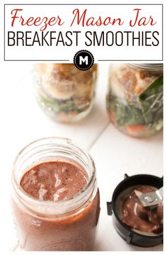 Freezer Mason Jar Smoothies: For a quick breakfast, freeze all your fruits and veggies in a mason jar and then use a quick blender hack for an instant and healthy way to start the day!