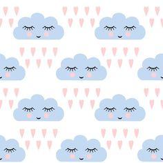 Carta da Parati Autoadesiva Nuvole modello. Seamless pattern con sorridente nuvole a pelo e il cuore per le vacanze i bambini. Cute baby shower vector background. Bambino disegno stile nuvole di pioggia in illustrazione vettoriale. - Risorse Grafiche