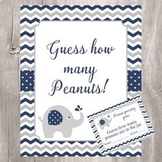 Elephant Baby Shower Peanuts Guessing Game, Navy and Gray How many Peanuts Game, Instant Downl Grey Baby Shower, Boy Baby Shower Themes, Baby Shower Diapers, Baby Shower Fun, Baby Shower Printables, Baby Shower Decorations, Baby Shower Invitations, Boy Printable, Elephant Theme