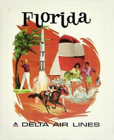 free printable, printable, classic posters, free download, graphic design, retro prints, travel, vintage Florida, Delta Air Lines - Vintage Travel Poster