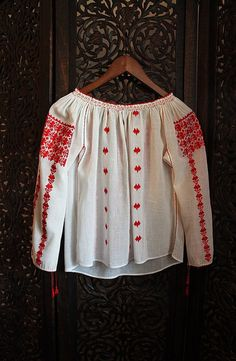 antique ethnic - romanian, small size child blouse has wonderful red cotton…