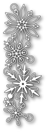Poppy Stamps - Die - Frozen Flakes  Size: 1.7 x 5.4 in.