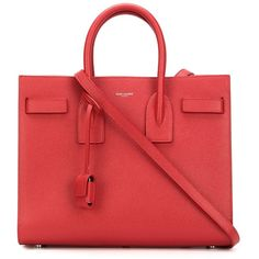 Saint Laurent small 'Sac de Jour' tote (3,870 CAD) ❤ liked on Polyvore featuring bags, handbags, tote bags, red, genuine leather handbags, genuine leather tote, handbags totes, tote purses and leather handbags
