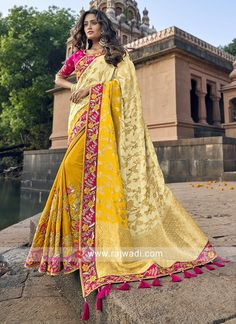 Online Shopping of Traditional Yellow Sangeet Wear Designer Weaving Work Half-Half Saree In Art Silk from SareesBazaar, leading online ethnic clothing store offering latest collection of sarees, salwar suits, lehengas & kurtis Art Silk Sarees, Banarasi Sarees, Anarkali Lehenga, Sabyasachi, Half And Half, Traditional Silk Saree, Yellow Saree, Bollywood Saree, Bollywood Fashion