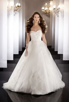 Brides: Martina Liana- 2013. Style 456, strapless beaded tulle ball gown wedding dress with embroidered sweetheart bodice, Martina Liana