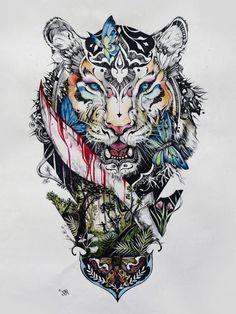 bunte zeichnung, tiger, schmetterlinge, blätter, tattoovorlage