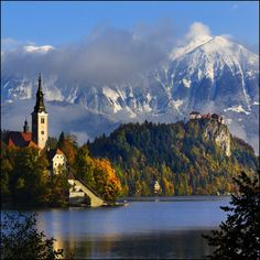 Lake Bled : Bled,Slovenia  Lake Bled (Slovene: Blejsko jezero) is a glacial lake in the Julian Alps in northwestern Slovenia, where it adjoins the town of Bled. The area is a popular tourist destination