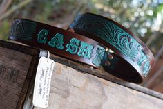 Leather Dog Collar ( Western Dog Collar ~ personalized leather dog collar ~ turquoise collar ~ vintage 1950 name on belt ) The Diamond Dogs, Custom Dog Collars, Dog Collars & Leashes, Leather Dog Collars, Diamond Dogs, Rodeo Outfits, Collar And Leash, Dog Names, Leather Accessories, Leather Tooling