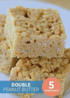 These Rice Krispies Treats® have double the peanut butter for double the nutty deliciousness. This easy recipe uses only 5 simple ingredients, so you can make it  a moment's notice for any occasion or quick snack.